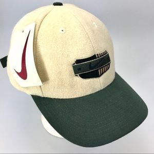 Vintage Nike wool hat tan and dark green NWT
